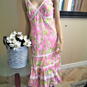 Lilly Pulitzer Pink Ruffle w Lace Tiered DRESS 6